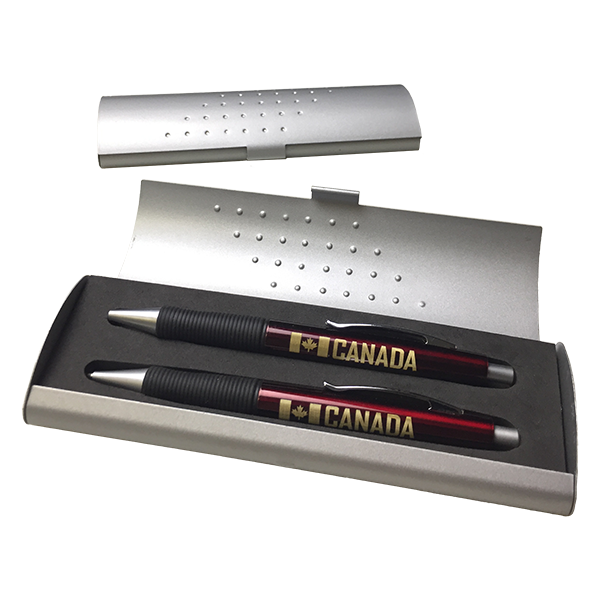O'Canada Pen and Pencil Set with case (silver)
